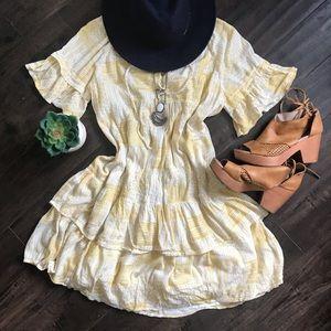 Caslon lace up neck tiered dress prairie boho
